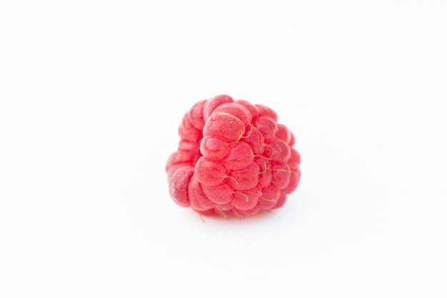 Raspberry fruits on white background
