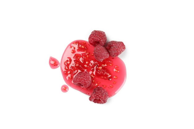 Raspberry jam with ingredients isolated on  white background