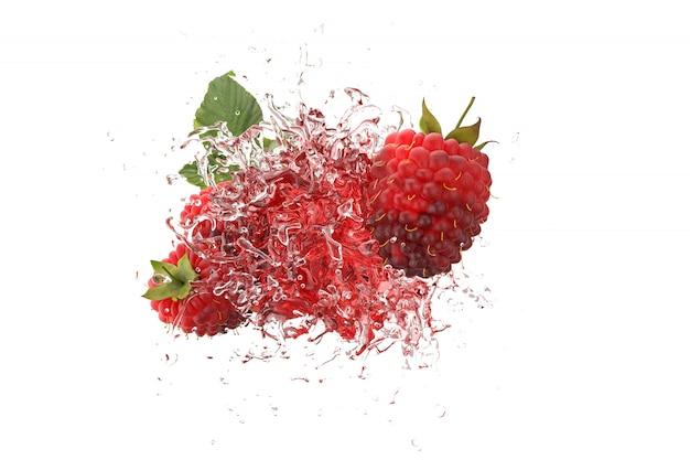 Малина сочная жидкость с фруктами малины на розовом фоне 3d визуализации