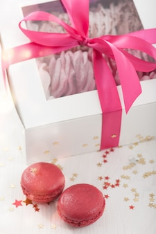 Raspberry macaroons and marshmallow