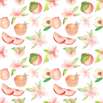 Raster pattern with watercolor illustration of fruits