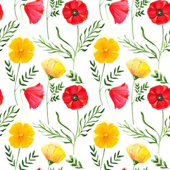 Raster seamless pattern illustration of watercolor poppies flowers with leaves