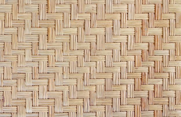 古い竹織りパターン、編まれたratマットテクスチャ背景。