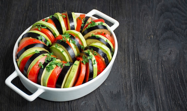 Ratatouille on a dark wooden