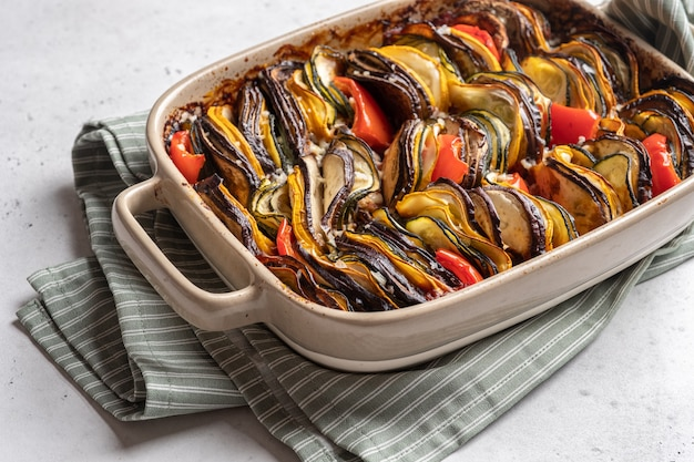 Ratatouille traditional french dish of baked summer vegetables