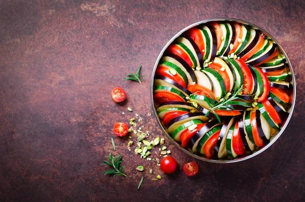 Ratatouille. traditional homemade vegetable dish. vegetarian vegan food.
