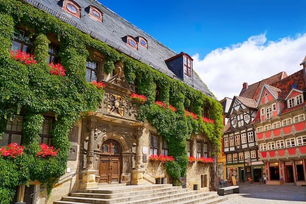 ドイツハルツのrathaus quedlinburgファサード