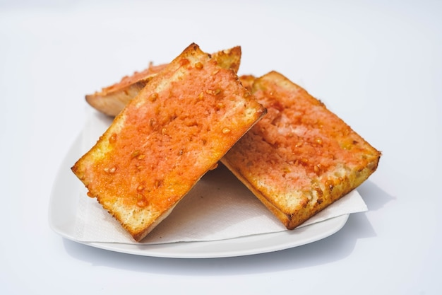 Ration of bread with tomato typical of catalonia