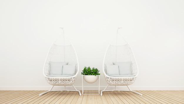 Rattan cradle in living room or coffee shop - 3d rendering