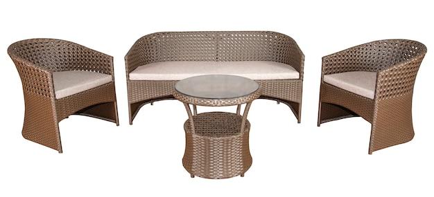 Rattan furniture. set of wicker garden furniture