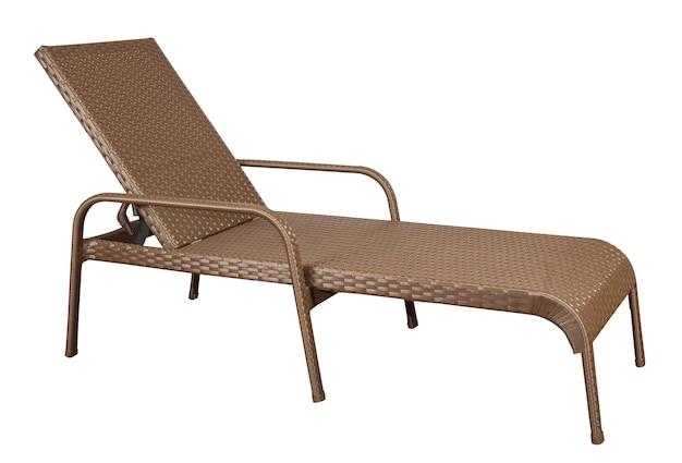 등나무 일광욕 의자. 고리 버들 세공 정원 가구 흰색 절연