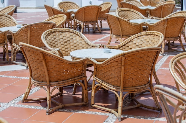 Rattan table and chairs in beach cafe egypt