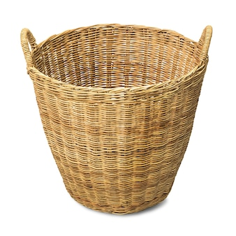 Rattan wicker basket for cloth isolated on white with clipping path