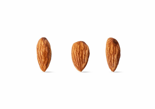 Raw almond isolated on white background