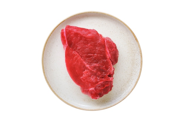 Raw beef steak isolate on white background.