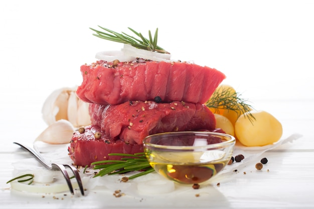 Raw beef steak and spices