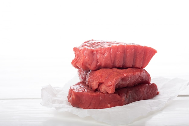 Raw beef steak over white