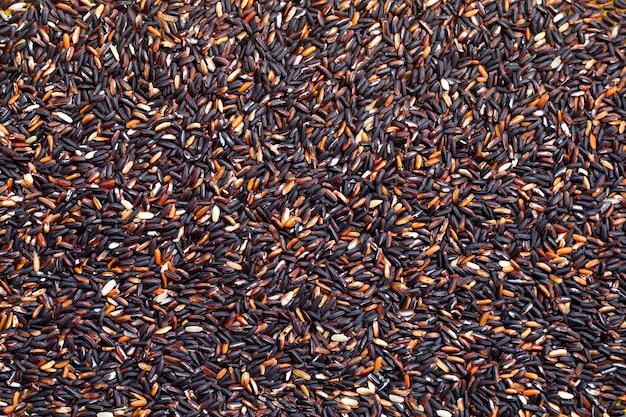 Raw black sticky rice background.