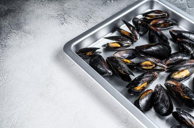 キッチンスチールトレイの生のムラサキイガイの殻