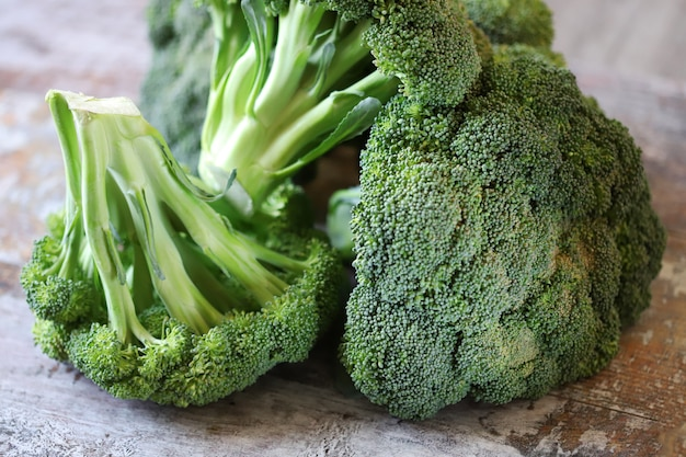 Raw broccoli heads.