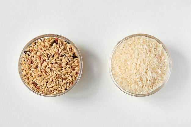 투명 유리 접시에 생 현미와 흰 쌀