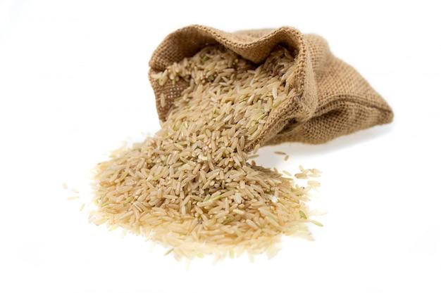 Raw brown rice in brown sack, healthy food.