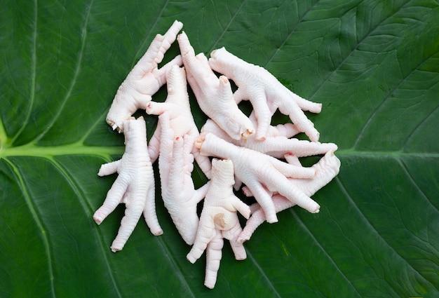 里芋の葉に生の鶏の足