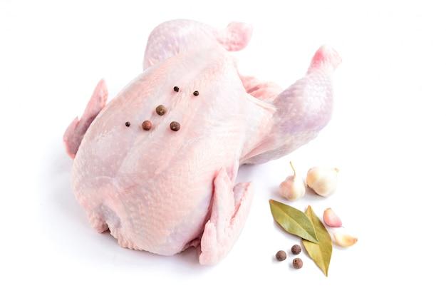 Сырцовый цыпленок изолированный на белой предпосылке.