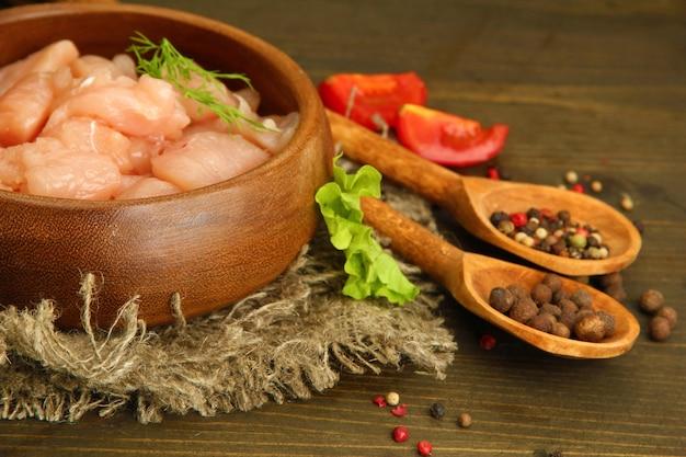 Сырое куриное мясо в миске, на деревянных фоне