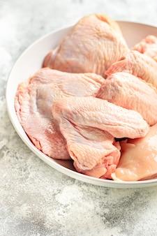 생 닭 날개 가금류 고기 부품 건강한 식사