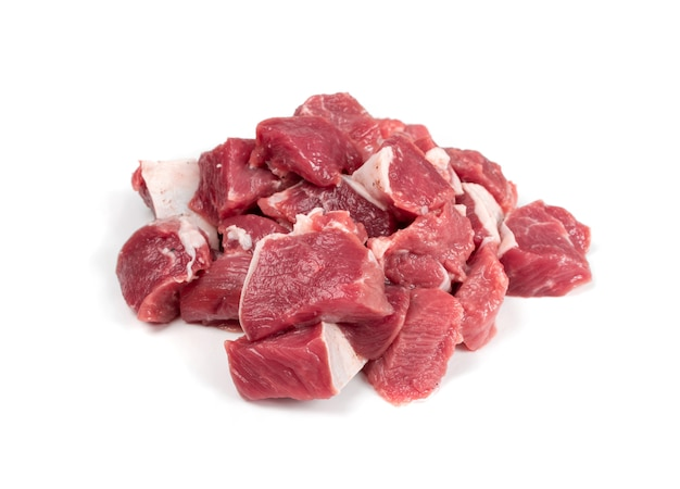 Raw chopped lamb fillet, diced tenderloin isolated