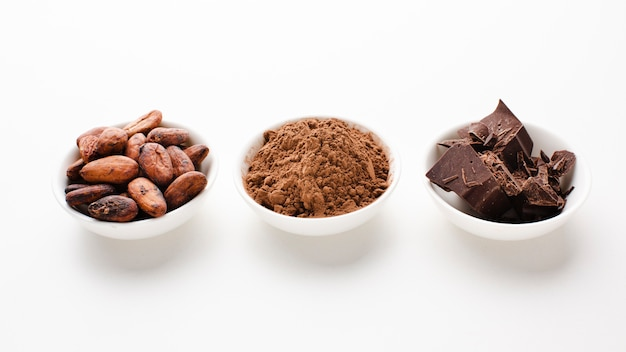 Raw cocoa and beans studio shot