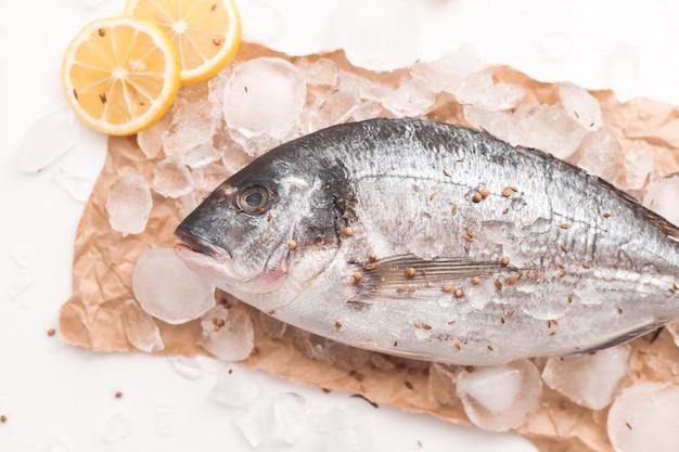 生のドラダ魚またはヨーロッパヘダイ、レモンと塩、白い背景、フラットレイ、上面図