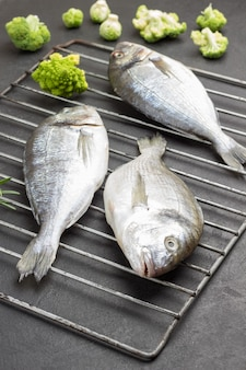 金属のグリルで生のドラド魚、ブリュッセルもやしとロマネスクキャベツをすりおろす
