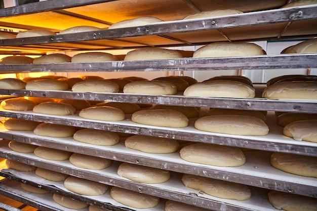製造時にオーブンで焼く前にオーブントレイで生の生地パン