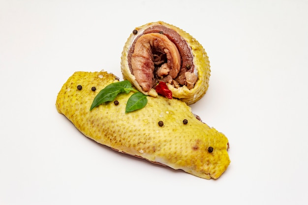 Raw duck breasts and spices isolated