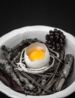 Raw egg with branches on bowl
