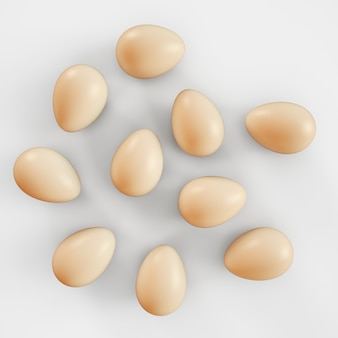 Raw eggs on white background. 3d rendering illustration.