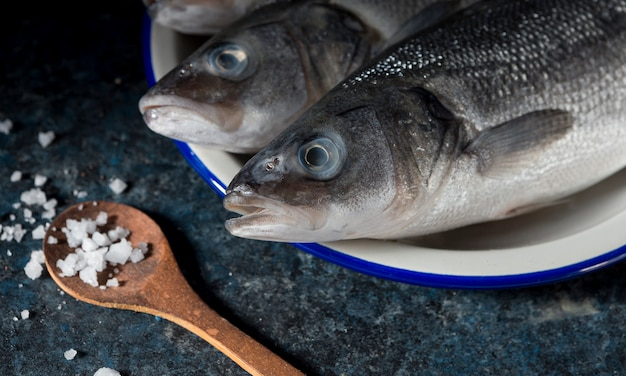 料理用の生魚の品揃え