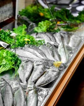 Сырая рыба в холодильнике на витрине ресторана