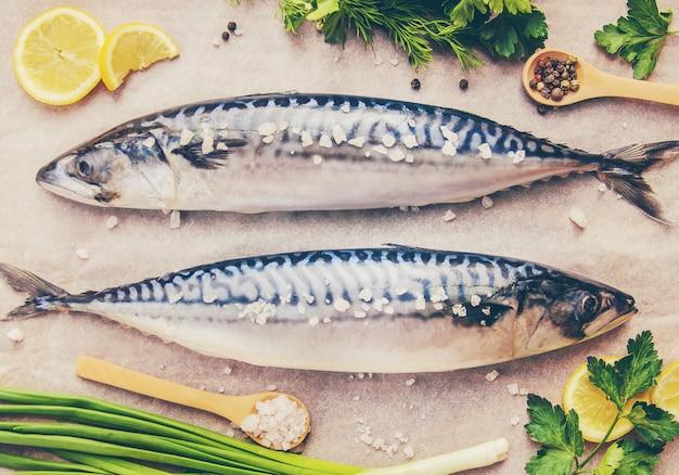 고등어 생선. 선택적 초점. 음식과 음료.