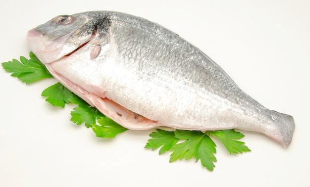 Сырая рыба на листьях петрушки