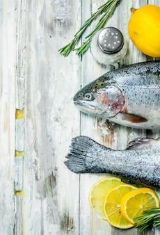 Лосось сырой рыбы с розмарином и лимоном на деревенском столе
