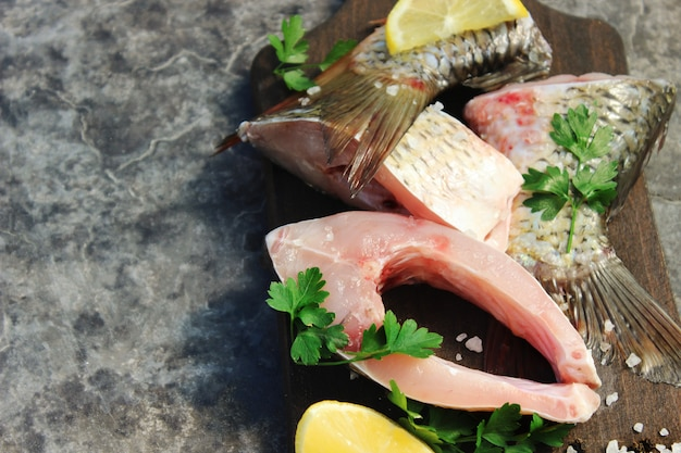 Raw fish. selective focus. selective focus. food.