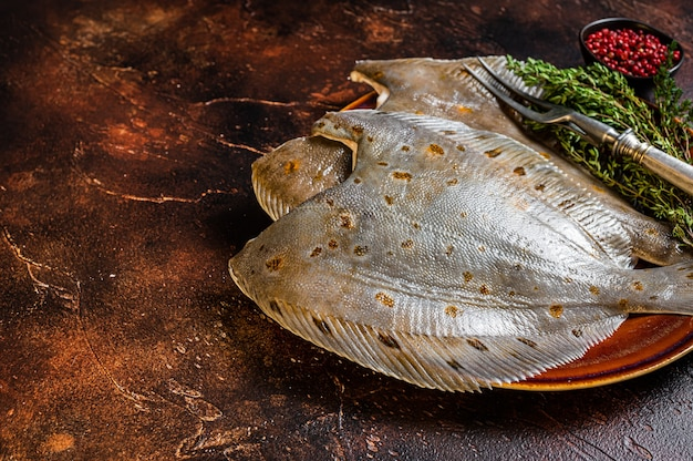Raw flounder or plaice on rustic plate with herbs. dark background. top view. copy space.