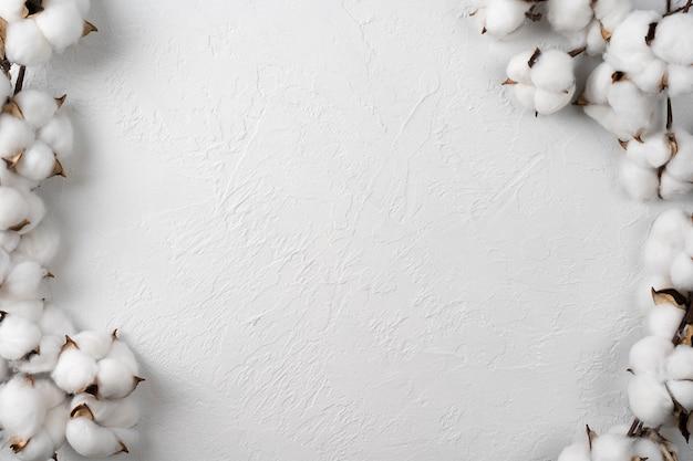Сырые пушистые ватные палочки на белом фоне и переработанной древесины. цветы хлопка на светлом фоне