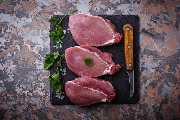 Raw fresh beef steak. selective focus