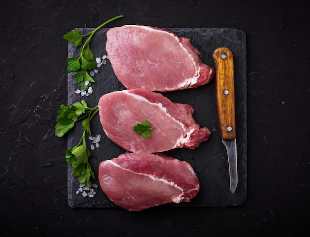 Raw fresh beef steak