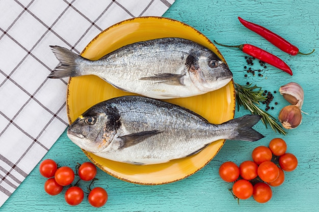 Raw fresh dorado fish on plate on blue background. top view.