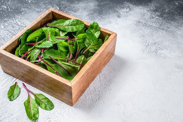 Сырые свежие зеленые листья мангольда мангольда в деревянной коробке